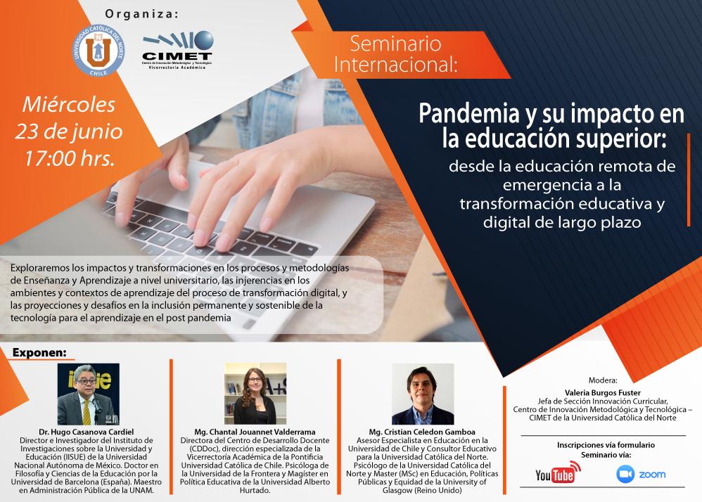 Invitan a seminario internacional sobre impacto de la pandemia en la educación superior