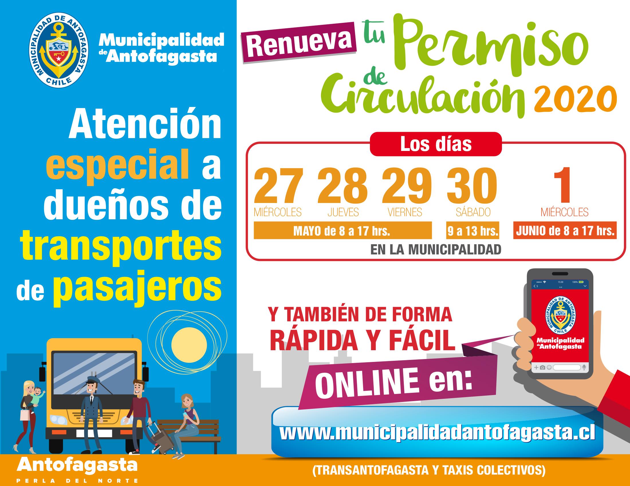 VENCE PLAZO PARA RENOVAR PERMISO DE CIRCULACION PARA TRANPORTES DE PASAJEROS